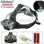 New 25000LM 5x T6 LED Headlight Headlamp Rechargeable 18650 USB Head Light Torch