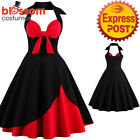 K313 Retro 50s Rockabilly Vintage Halter Swing Dress Up 1950s Evening Formal