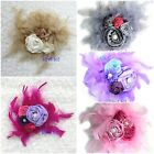 Girls Cream Silver Pink Purple Rose Flower Wedding Party Pearl Feather Headband