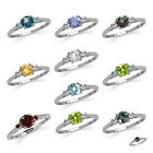 3-Stone Multi Colored Gemstone 925 Sterling Silver Engagement/Birthstone Ring