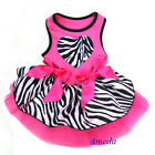 Hot Pink Zebra Tutu Heart Party Dress Cat Pet Small Dog Clothes Outfit