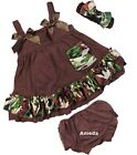 Baby 2 Piece Camo Brown Swing Top Bloomer Set Headband 3pcs Outfit 0-18M