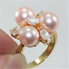 Pretty 18KGP 8 MM pink crystal Shell Pearl Women' s Ring size 7 8 9