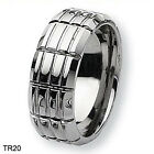 Custom Mens Grooved Beveled Titanium Wedding Band Anniversary Ring Size 3-18