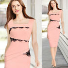 Lace Sexy Sleeveless Hot Party Dress Women's Peplum Dresses Formal Prink Midi