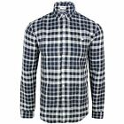 FARAH SHIRT ANDERTON MENS NAVY AND CREAM SLIM FIT CHECK TOP