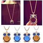 Women Owl Pendant Necklace Rhinestone Charming Animal Long Sweater Necklace B20E