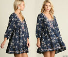 SML Umgee Embroidered Floral V-Neck Peasant Tunic Dress Loose Flowy Ruffled Boho