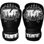 Tuff Muay Thai Boxing Sparring Gloves MMA Black Silver Kick Boxing