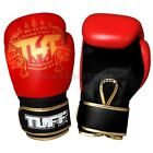 Tuff Muay Thai Boxing Sparring Gloves MMA Red Gold Kick Boxing Free DVD