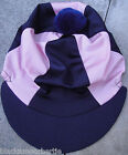 Riding Hat Silk Skull cap Cover NAVY BLUE & BABY PINK * With OR w/o Pompom