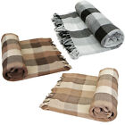 Luxury Soft 100% Cotton Checked Throws Large Thermal Sofa Bed Blanket Throw