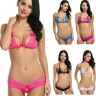 Women Sexy Two Pieces Hollow Floral Lace Bra and Panty Lingerie Set B20E