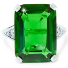 1/4ct Diamond 18X13 Ferrar Simulated Emerald Ring 10K White Gold