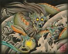 Oni Dragon by Samuel Gosson Japanese Traditional Asian Tattoo Canvas Art Print