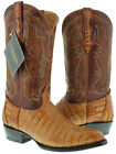 Mens Cognac Brown Genuine Crocodile Flank Skin Leather Cowboy Boots J Toe