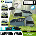 Deluxe DOUBLE Outdoor Camping Canvas Swag  Aluminium Poles Tent