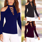 Women Ladies Casual Long Sleeve Shirt Lace-Up Tops Blouse Off Shoulder T-Shirt