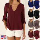 Fashion Women Ladies Long Sleeve V Neck Blouse Casual Summer Shirt Loose Tops