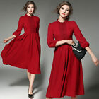 Spring Elegant Womens 3/4 Sleeve O-Neck High-end Lace Chiffon Red Midi Dress