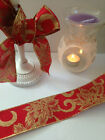 POINSETTIA glitter swirls Red Burlap 'style' Christmas - Luxury Wire Edge Ribbon
