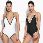 Sexy Women Halter Deep Backless Patchwork V-Front Slimming Swimsuit Swimwear NEW