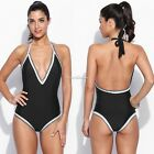 Sexy Lady Women Halter Deep V-neck Backless Patchwork One Piece Swimsuit US