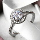Silver 0.8ct Brilliant Cut Stone Engagement Ring Made With Swarovski Crystal R7