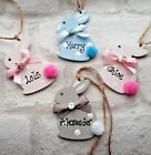 Personalised  Easter Wooden Bunny Rabbit Gift Tag any colour