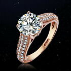 Rose Gold Plated 2 Carats Lab Diamond Women Ring Made With Swarovski Crystal R18