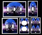 BLUE MOON PURPLE NIGHT TREE OF LIFE LIGHT SWITCH COVER PLATE