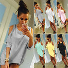 Oversize Women Cold Off Shoulder Blouse T Shirt Top 3/4 Sleeve Casual Mini Dress