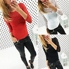 Women's Spliced Lace Hollow Out Long Sleeve T-Shirts Blouse Pullover Jumper Tops