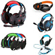 KOTION EACH Vibration Gaming 3.5mm Headphone LED Light Wired Headset Mic For PC