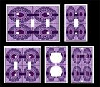 PURPLE FLORAL MADALION LIGHT SWITCH COVER PLATE