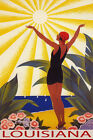 LOUISIANA SUNSHINE BEACH GIRL SALUTING SUN SAILING TRAVEL VINTAGE POSTER REPRO