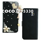 Handmade Magnetic Flip Leather Wallet Case Cover with Bling Luxury Designs #Z