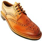 Catesby 1100 Men's Tan Lace Up Round Toe Leather Wingtip Brogues New