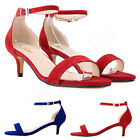 Ladies Faux Suede Low Heels kitten Work Shoes Ankle Strap Sandals US Size 7-11