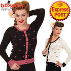 RKN23 Banned Golden Touch 50s Clothing Flamingo Rockabilly Cardigan Pin Up Retro