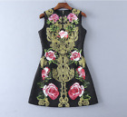 Occident hot sale high-end women gold embroidery sequins flowers Jacquard dress