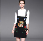 17 Occident white shirt+tiger embroidery head braces skirt fashion leisure suit
