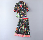 Occident fashion Modern Vintage Printed shirt+pleated skirt fashion suits SMLXL