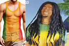 Mens Rasta Jamaican Rastaman Reggae String Vest and Wig Fancy Dress Accessory