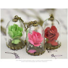 Fashion Dried Flower Rose Glass Bottle Romantic Chain Necklace Pendant For Women