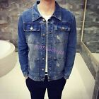 New Men's Fashion Collar Long Sleeve Slim Fit Jean Jacket Ripped Hole Denim Coat
