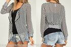 Black/White Chevron Drape/Tie Front Long Sleeve Chiffon Cover-Up Cardigan