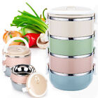 1-4 Layer Stainless Steel Thermal Insulated Lunch Box Bento Food Container Round
