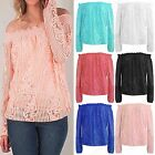 NEW LADIES FRILL RUCHED BARDOT LACE CROCHET LONG SLEEVE WOMEN OFF SHOULDER GYPSY