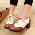 Fashion british Brouge women ladies wing tips oxfords block mid heel lace up